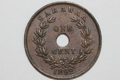 About Uncirculated 1892-H Sarawak Cent KM #7 Copper Coin (SARA110)