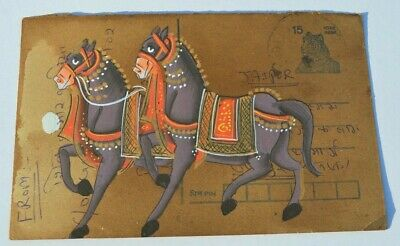 A  Lovely Old Rajasthan Miniature Painted Indian Postcard Of A Horse  No23
