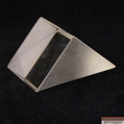Obtuse Triangular Prism Clear Art Glass Paperweight Reflective Mirror Like 12069