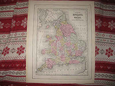 Mint Antique 1895 England Wales County Mitchell Handcolored Map Railroad Fine Nr