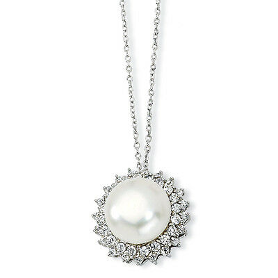Cheryl M 925 Sterling Silver CZ Freshwater Cultured Pearl Pendant Necklace 18""