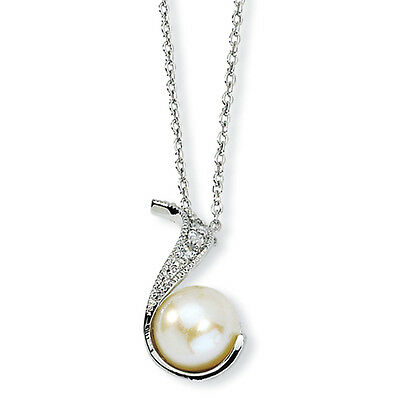 Cheryl M Sterling Silver CZ & White Cultured Pearl Swirl Pendant Necklace 18""