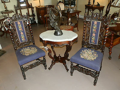 Amazing Pair Of Victorian Hand Carved Barley Twist Parlour Chairs
