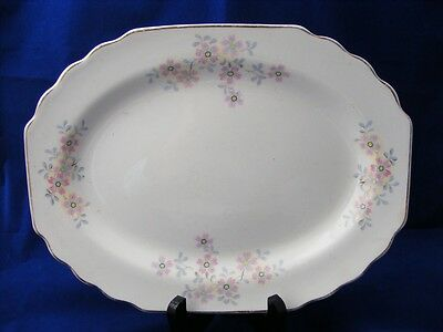 """W S George White Lido Serving Platter 11.5"""" Pink Gray"""