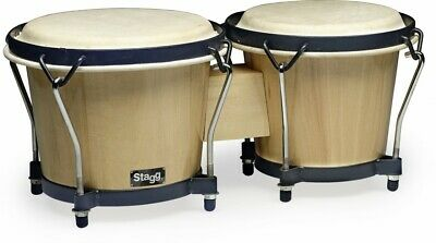 Stagg BW-70-N Natural Finish Real Hide Head Percussion Bongo Drum Set BW70N