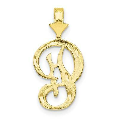 10k Yellow Gold Grooved Initial L Charm Pendant 20mmx11mm