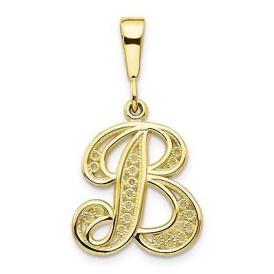 10k Yellow Gold Script Initial /'E/' Polished Charm Pendant