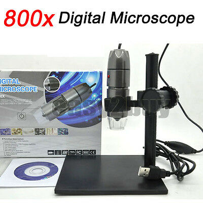 8LED USB Digital Microscope Endoscope Magnifier 800X Video Camera with Stand