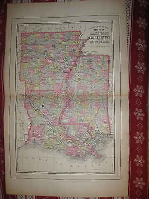 Huge Mint Antique 1895 Arkansas Mississippi Louisiana Mitchell Map New Orleans N