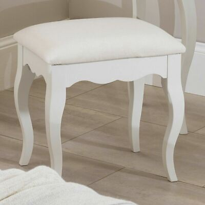 ROMANCE Antique White Dressing Table Stool with cushion seat, Upholstered stool