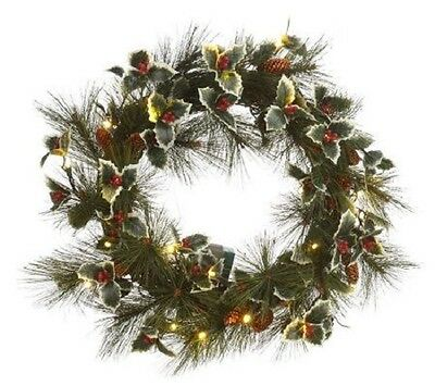 """BethlehemLights BatteryOperated 24"""" Holly Wreath w/LED Lights & Timer  H164555"""