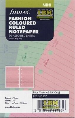 Filofax Mini size Fashion Coloured Ruled (Lined) Notepaper Refill Insert 513507