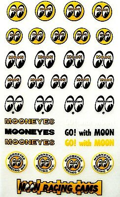 Assorted tiny itty bitty Moon Eyes Decals Hot Rat Rod Gasser Stickers Mooneyes