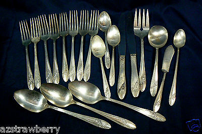 VTG mix lot of 20 pc. Queen Bess Tudor Silver plate Oneida Flatware & Serving