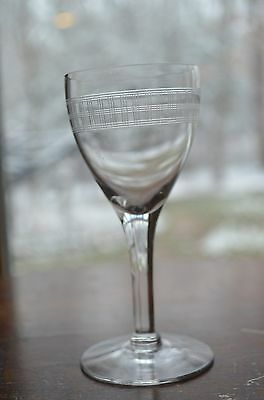 Vintage Etched Old Crystal Cordial Sherry Glasses. Drinking Glasses. Barware