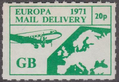 GB Postal Strike #EUR5 MNH 20p Europa Mail Service Map 1971