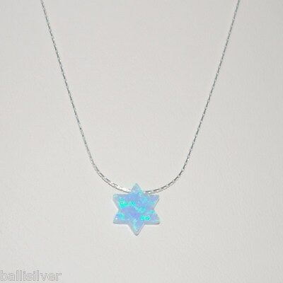 6 pieces Sterling Silver 925 Necklaces with Light Blue OPAL STAR of DAVID Charms