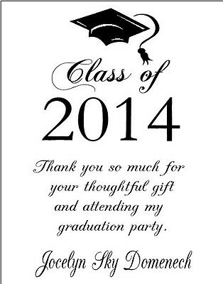 Graduation Graduate ANY COLOR Party Thank You Note Cards Personalized Custom