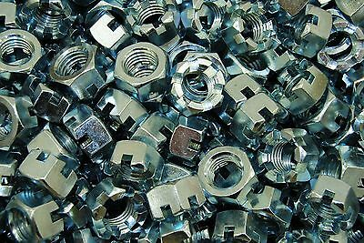 (50) Slotted Hex Castle Nuts 3/4-10 Thread Zinc Plated