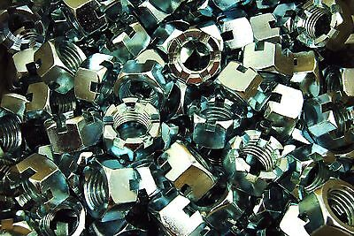 """(15) Slotted Hex Castle Nuts 1""""-8 Thread Zinc Plated 1-8"""