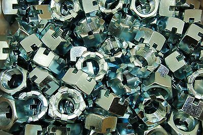"""(15) Slotted Hex Castle Nuts 1""""-14 Fine Thread Zinc Plated 1-14"""