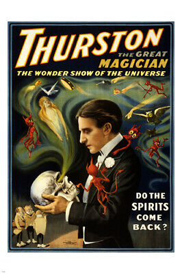 Thurston THE GREAT MAGICIAN vintage 1915 performing arts poster 24X36 rare!