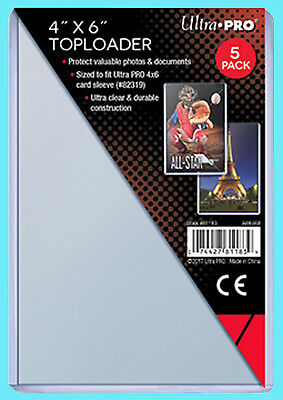 """5 Ultra Pro 4x6 TOPLOADERS NEW Photo Sports Card Collectible 4""""x6"""" Sleeves Rigid"""