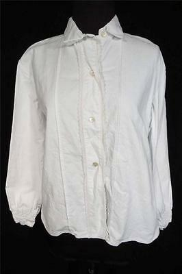 Rare Vintage Antique French Edwardian Era-1920's White Cotton Blouse Size Large