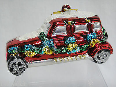 """Figural Woody Wagon Car Christmas Ornament 5""""  with Snow & Garland"""