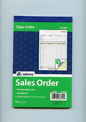 Adams DC5805 sales order book  50 carbonless sets x6 300 units