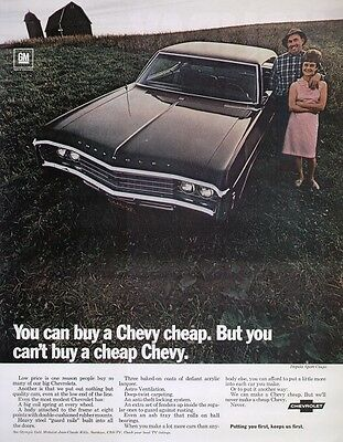 """Chevrolet Impala Sport Coupe 1969 Vintage Muscle Car Ad """"Barn of Farm"""""""