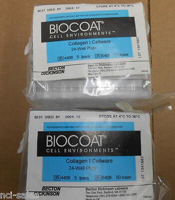 LOT OF 2 PACKS OF BD BioCoat™ 354408 COLLAGEN CELLWARE 24-WELL PLATE 5/PACK