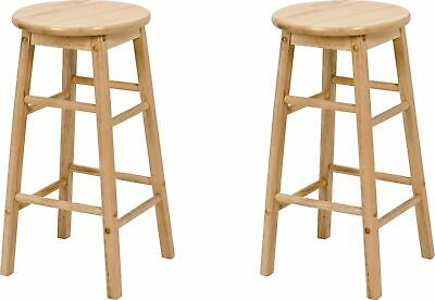 Argos Home Pair of Solid Wood 60cm Tall Kitchen Stools with Foot Rest