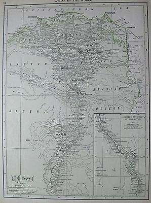 1911 Antique EGYPT Map Beautiful Collectible Map of Egypt Vintage 1900s Map