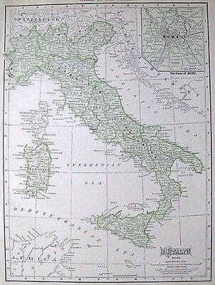 1911 Antique ITALY Map Vintage Map of Italy Gallery Wall Art Gift for Traveler