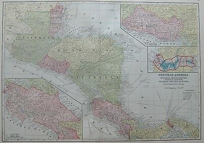 1911 Antique MAP of  CENTRAL AMERICA  Beautiful Color Vintage MAP