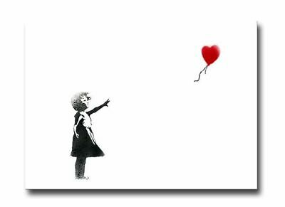 "BANKSY GIRL with Balloon CANVAS ART PRINT 16""X 12"" Graffiti Art poster"