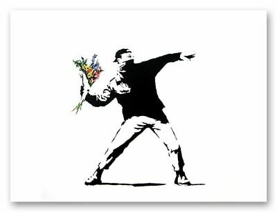 "BANKSY FLOWER THROWER chucker CANVAS ART PRINT 16""X 12"" poster"