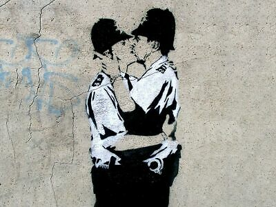 "BANKSY Kissing Coppers A2 CANVAS PRINT Art Poster landscape 18""X 24"""
