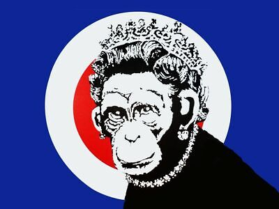 "BANKSY Monkey Queen A2 CANVAS PRINT Art Poster landscape 18""X 24"""