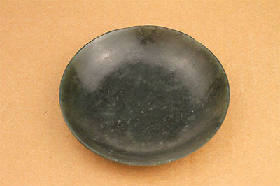 """Antique Chinese Spinach Jade Hand Carved Dish 3.5"""" D"""