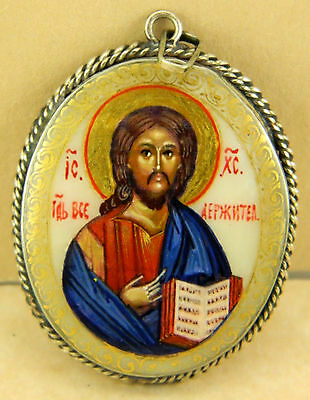 ICON JESUS HANDPAINTED LACQUER PENDANT not box VILLAGE FEDOSKINO