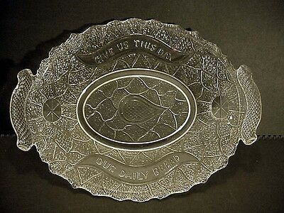 EAPG Garden of Eden Pattern Glass Daily Bread Tray Fish Lotus Serpent Turtle