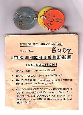 Coal Mining Set of 3 Emergency Service Pit Checks used at last Notts Colliery