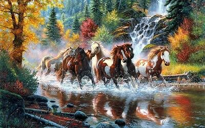 HD Canvas Print Animals Horses Oil painting Picture Printed on canvas 16x24 Inch