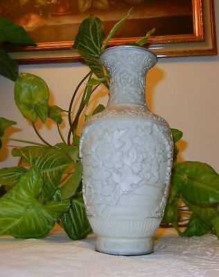 Old Chinese Famille Rose Bottle Vase Hand Carved White Cinnabar