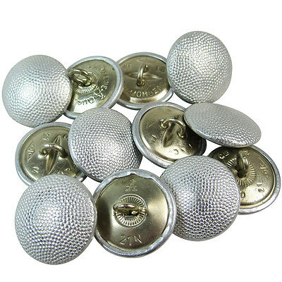 12x German Army Uniform SILVER PEBBLED TUNIC BUTTONS - WW2 Repro