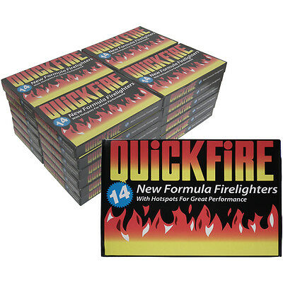 336 Fire Lighters 24 Packs of Quickfire Firelighters Bulk Pack Hotspots Burners