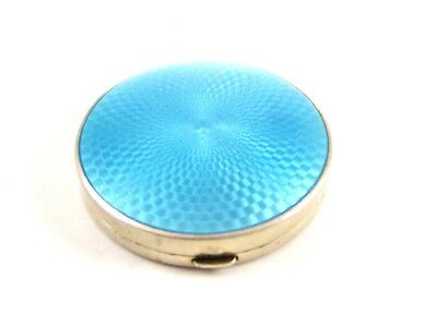 Art Deco Sterling Silver Baby Blue Initialed MWS ?? Guilloche Compact