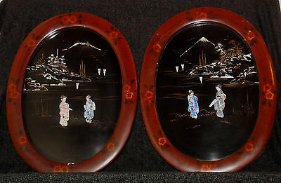 Japanese Shibayama Mother of Pearl & Papier Mache Picture Lacquer & Wood Frames